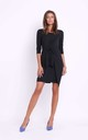 Black Bodycon Dress with Front Tie by Bergamo