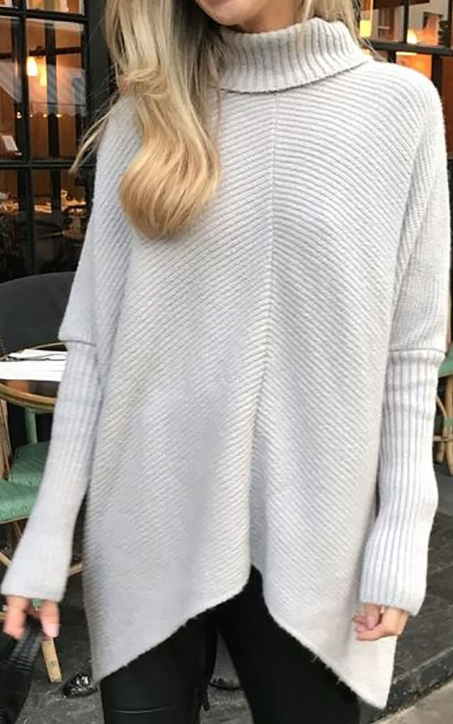 EXCLUSIVE Callie Knit Jumper Light Grey by Pretty Lavish