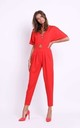 Short Sleeve Jumpsuit with Cut Out in Red by Bergamo