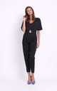 Short Sleeve Jumpsuit with Cut Out in Black by Bergamo
