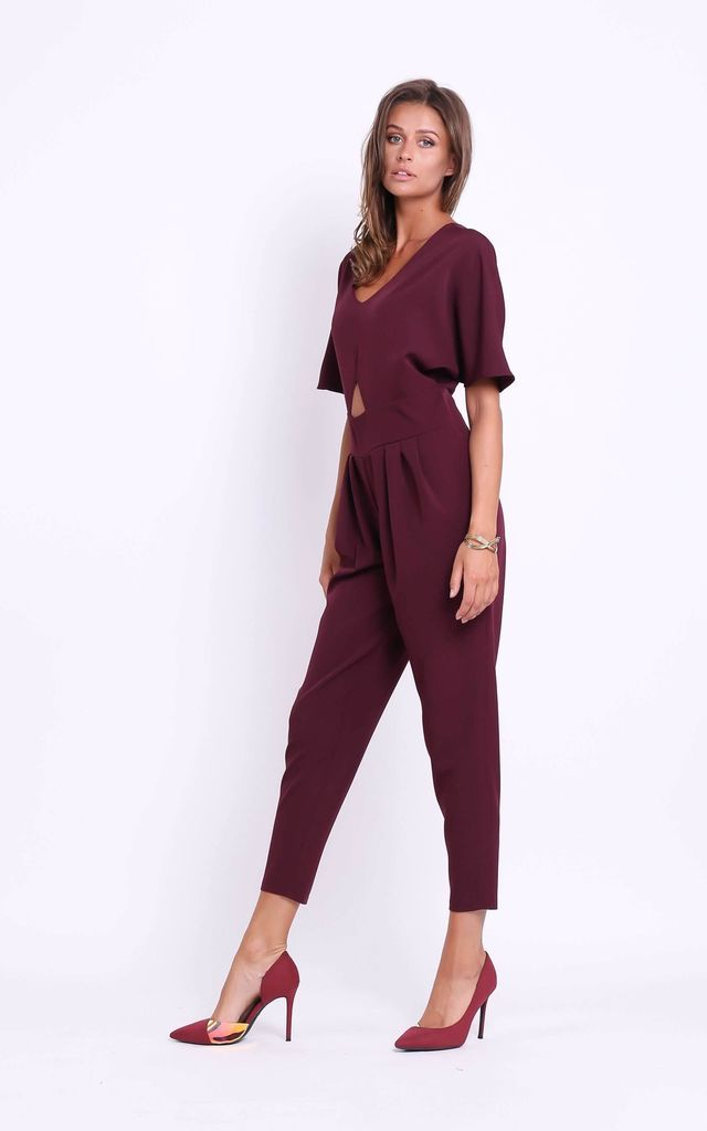 Jumpsuit with Cut Out in Deep Red by Bergamo