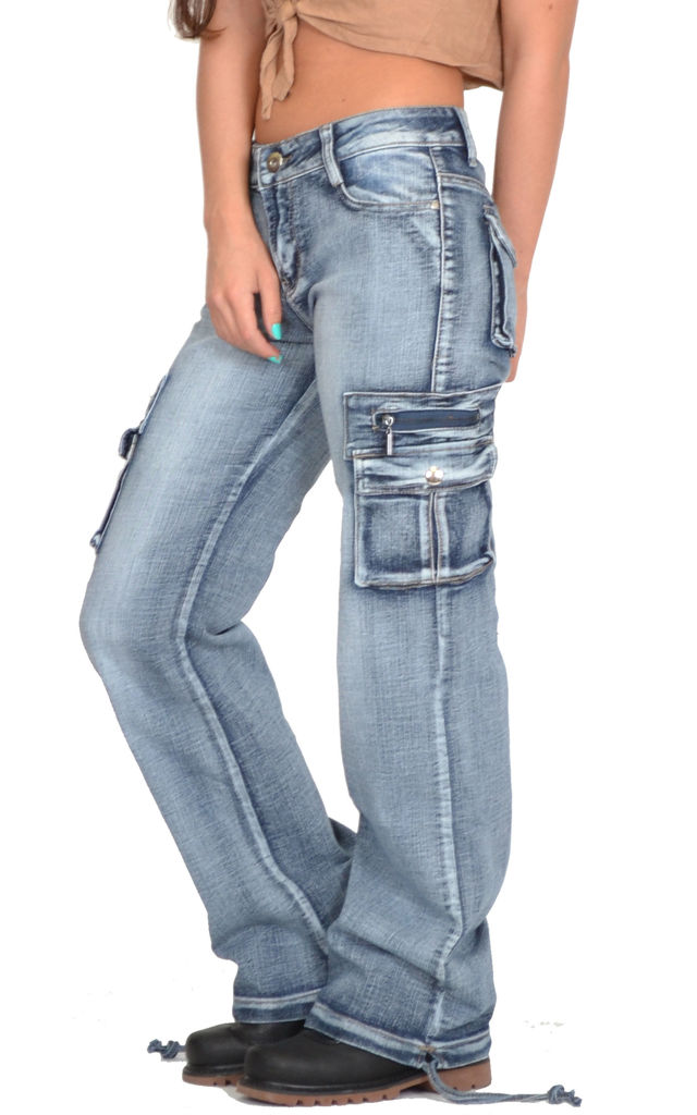 Blue Faded Wide Leg Cargo Jeans by Glamour Outfitters