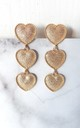 Gold Three Tier Heart Drop Earrings by Olivia Divine Jewellery