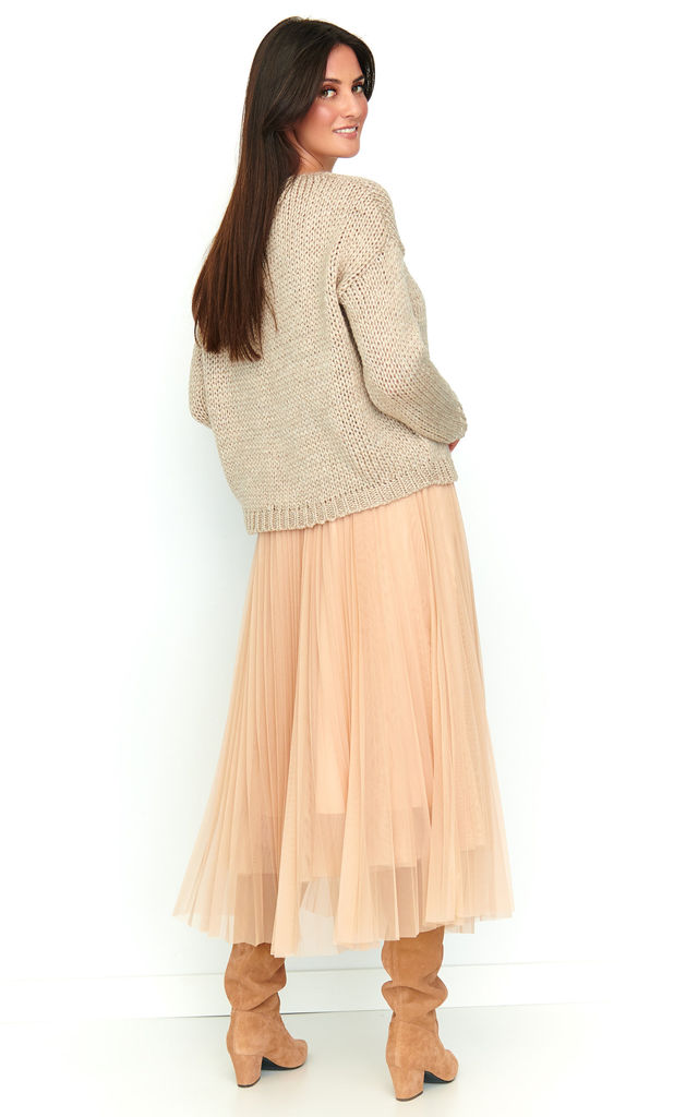 Midi Tulle Skirt with Elastic Waist in Beige by Makadamia