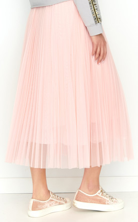Midi Tulle Skirt with Elastic Waist in Powder Pink by Makadamia