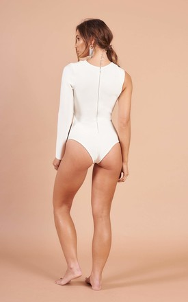 Off White Cut Out Luxury Bandage Eyelet  Bodysuit by STEREOBLONDES