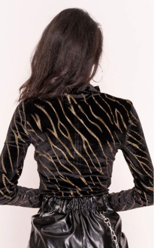 Black & Gold Stripe Velvet Bodysuit by Hachu