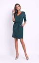 Wrap Front Dress with 3/4 Sleeves in Green by Bergamo