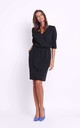 Wrap Front Dress with 3/4 Sleeves in Black by Bergamo