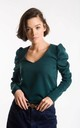 Green Top With Puff Sleeves by Bergamo