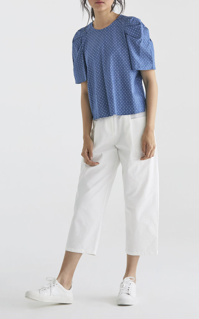 Mia Top in Blue Polka Dot by Paisie