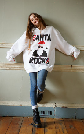 Santa Rocks Christmas Jumper in White by Batch1