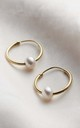 18ct Yellow Gold Plate Pearl Hoop Earrings by Posh Totty Designs