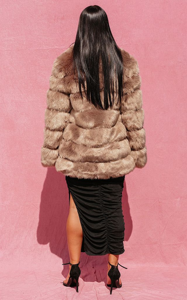 SHEYA BROWN LUXE LONG FAUX FUR COAT by IVY EKONG FASHION