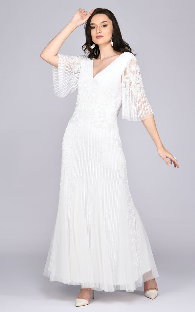 Norma Maxi three-quarter length Sleeve Wedding Dress in White by Gatsbylady London