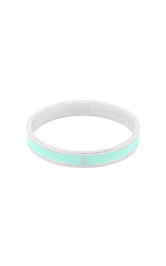 Turquoise/Silver Bangle With A Initial by Florence London