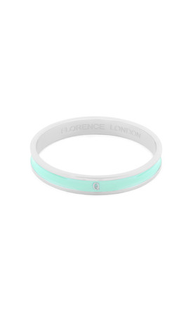 Turquoise/Silver Bangle With Q Initial by Florence London