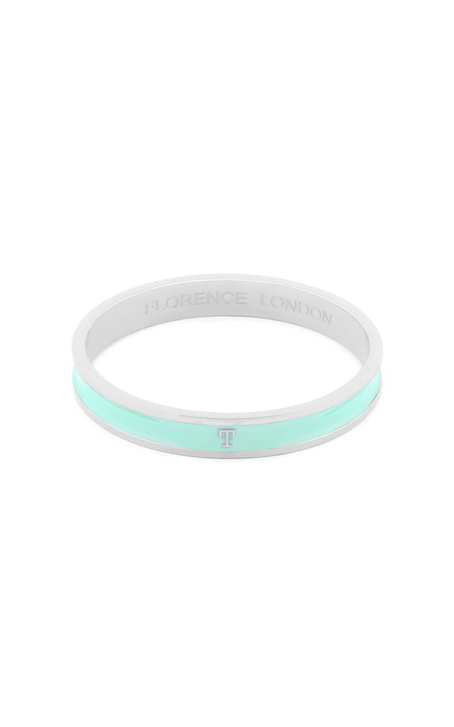 Turquoise/Silver Bangle With T Initial by Florence London
