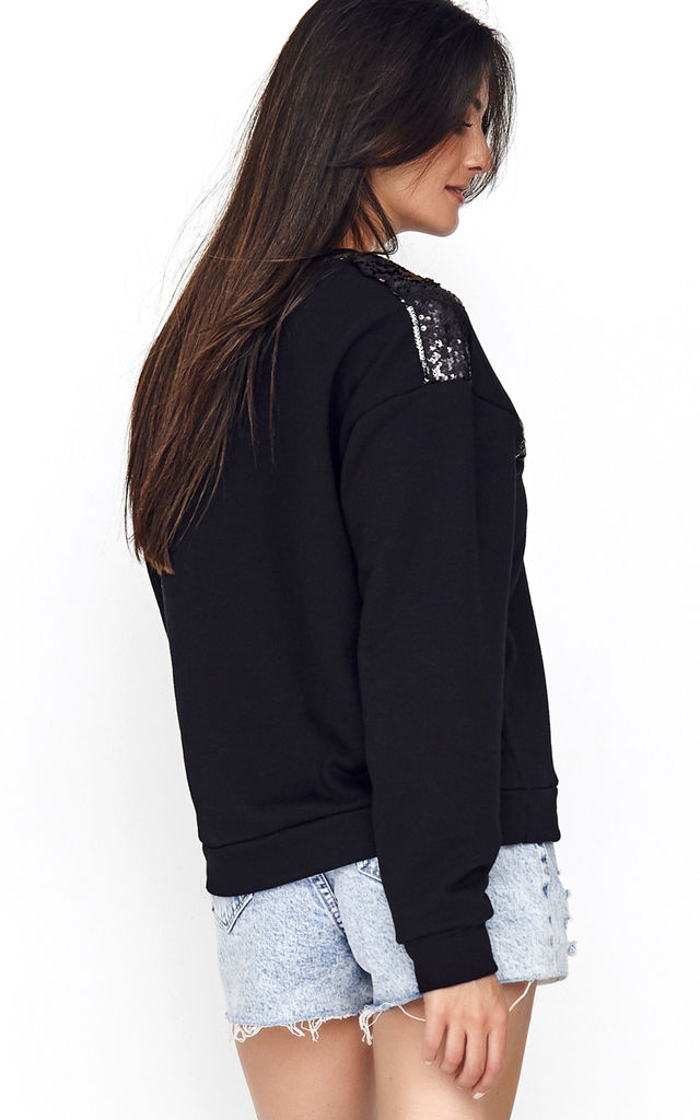 Sweatshirt with Sequin Panel in Black by Makadamia