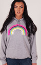 Grey Oversized Hoodie with Glitter Rainbow by LimeBlonde