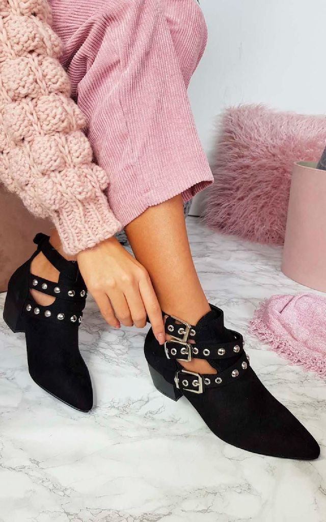 Imogen Buckle Ankle Boots in Black by IKRUSH