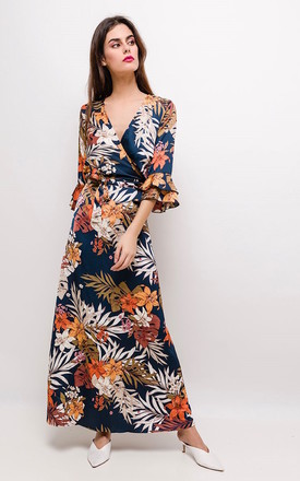 The Tuscany Silky Wrap Maxi Dress In Tropical Print by Brunch Club Girls. Product photo