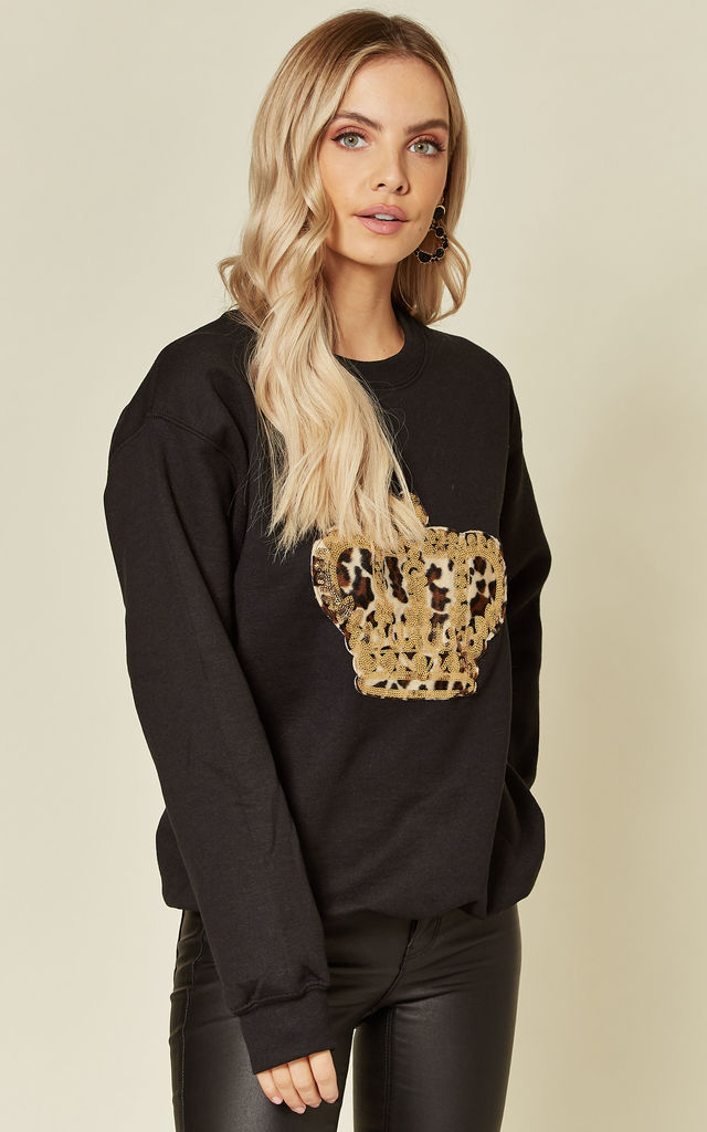 Black Sweatshirt with Sequin Leopard Crown by Fearless Alice Custom