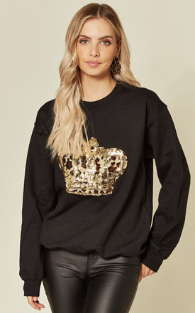 Black Sweatshirt With Sequin Leopard Crown by Fearless Alice Custom Product photo