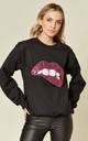 Black Sweatshirt with Sequin Lips by Fearless Alice Custom