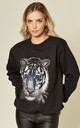 Oversized Black Sweatshirt with Sequin Tiger by Fearless Alice Custom