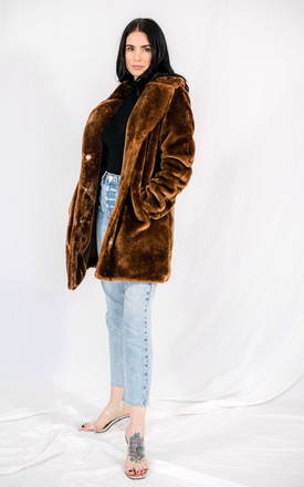 Faux Fur Coat With Collar in Brown by HAUS OF DECK