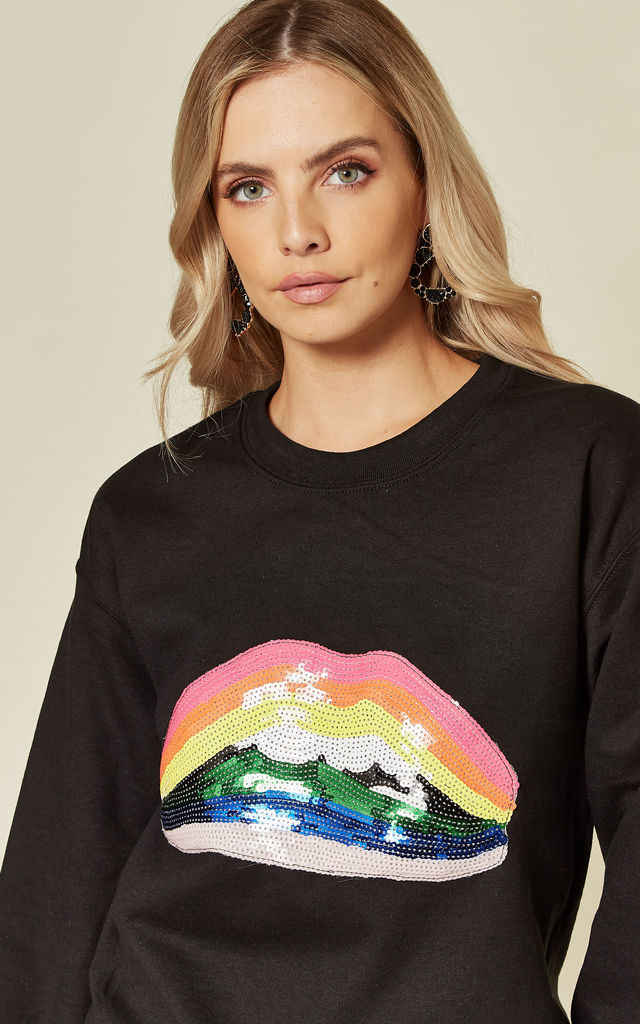 Black Sweatshirt with Sequin Rainbow Lips by Fearless Alice Custom