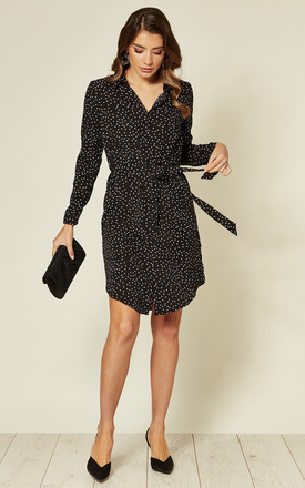 Belted Mini Shirt Dress In Black Polka Dot by LOVE SUNSHINE Product photo