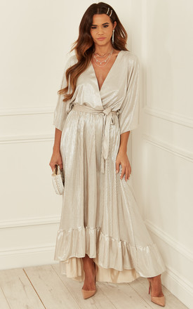 Crepe Plunge Maxi Dress In Silver by Bella and Blue Product photo
