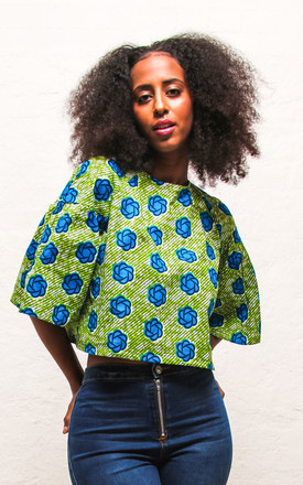 Teni Cropped Boxy Top In Green & Blue Floral Print by Agnes and Lola Product photo