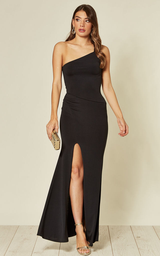 Maya Slinky Fit One Strap Maxi Dress in Black by B of London