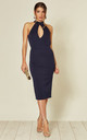Aurora High Neck Bodycon Dress in Navy by B of London