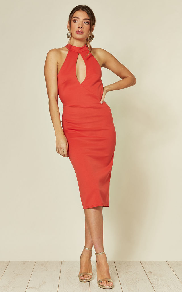 Aurora High Neck Bodycon Dress in Red by B of London