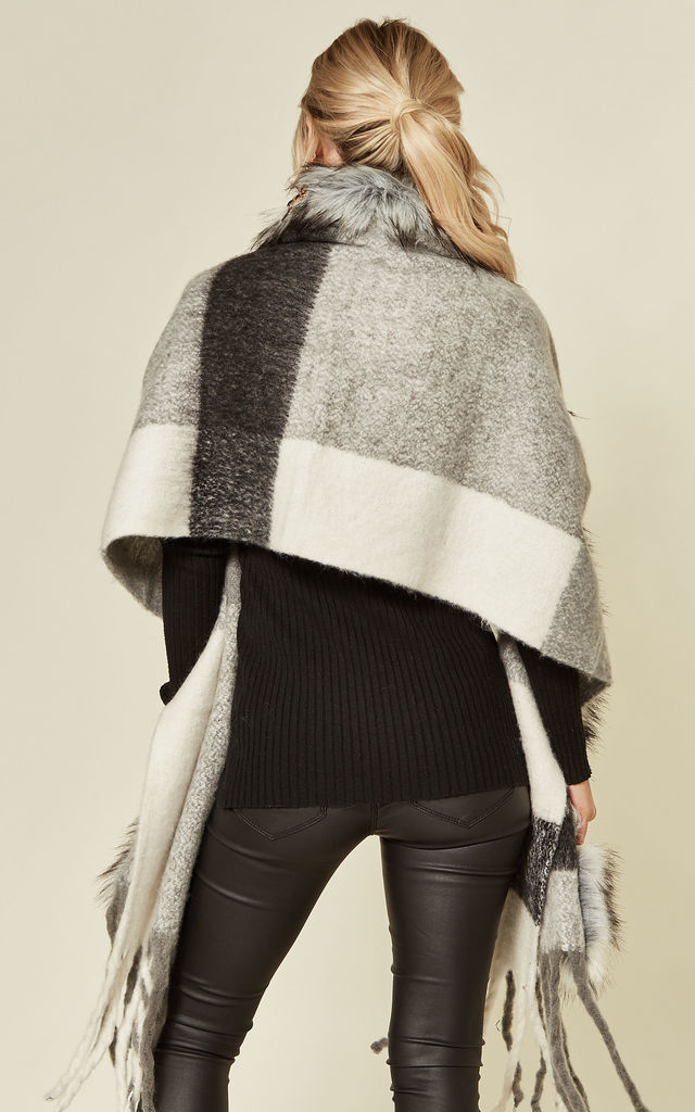 Daniella Grey Check Shawl with Grey Faux Fur by Faux England