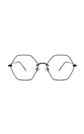 Ashley Hexagon Blue Light Black Glasses by Don't Be Shady