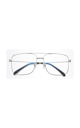 Alex Square Bar Blue Light Silver Glasses by Don't Be Shady