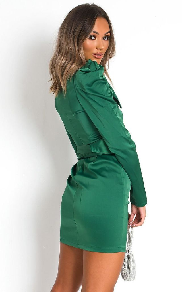 Indie Belted Puff Sleeve Mini Dress Green by IKRUSH