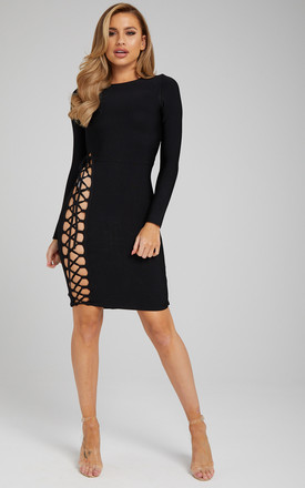 The 'Marjorie' Black Bandage Dress With Long Sleeves And Cut Outs by Made By Issae Product photo