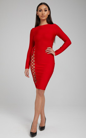 The 'Marjorie' Red Bandage Dress With Long Sleeves And Cut Outs by Made By Issae Product photo