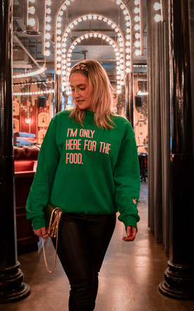 CHRISTMAS SWEATSHIRT IN GREEN HERE FOR THE FOOD SLOGAN by Rock On Ruby