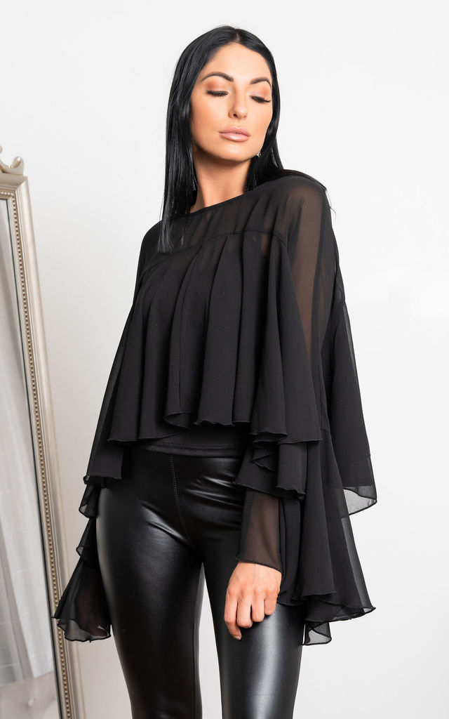Sheek Layered Sleeve Top in Black by Miss Attire