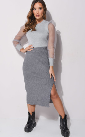 Grey Ribbed Knit Midi Skirt by LILY LULU FASHION