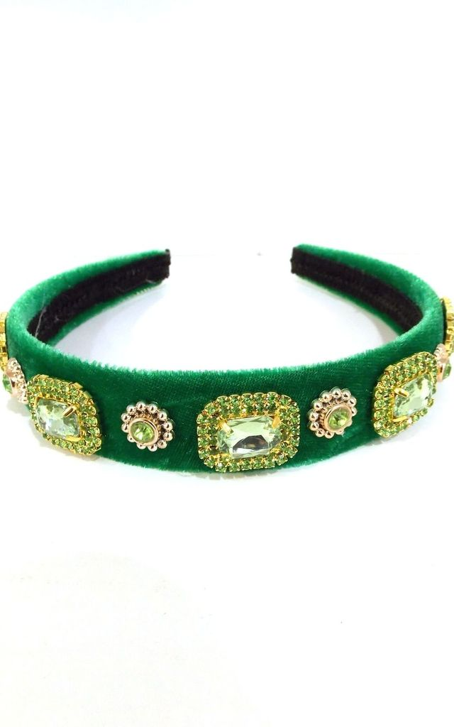 Emerald Green Velvet Jewelled Hairband by Olivia Divine Jewellery