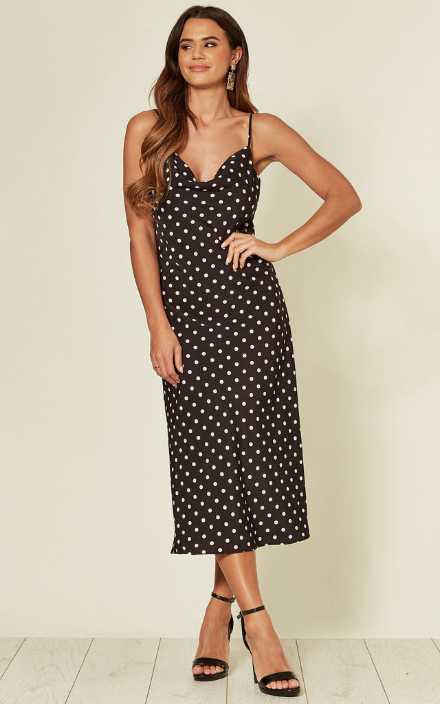 Polka Dot Cami Dress in black by HOXTON GAL