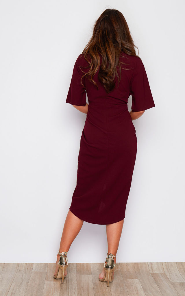 Chelsea Half Sleeve Wrap Detailing Midi Dress Berry by Girl In Mind